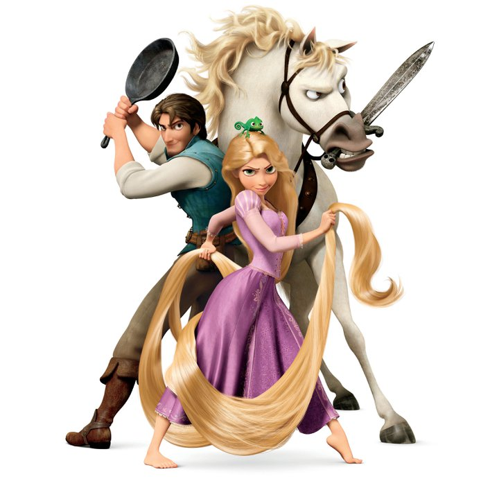 Flynn Rider, Rapunzel, Pascal, and Maximus