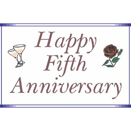 Happy Fifth Anniversary DIY iron on stickers (heat transfer)